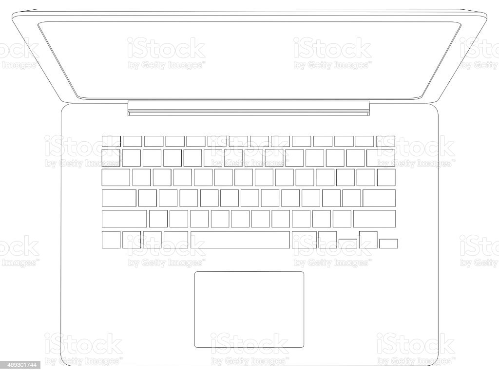 Drawing Of Wireframe Open Laptop Top View Stock Photo & More ...