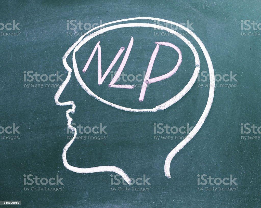 Zeichnung auf Tafel ein Menschlicher Kopf im Profil – Foto