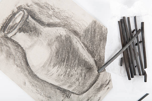 drawing on paper painted charcoal - charcoal drawing stock photos and pictures