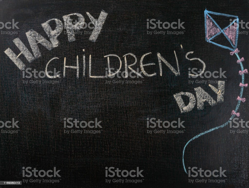 Drawing on sandpaper. Happy children\'s day. Copy space.