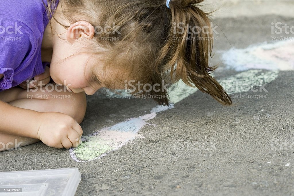 drawing on the asphalt royalty-free stock photo