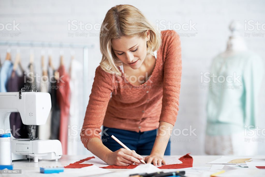 Drawing out her design royalty-free stock photo