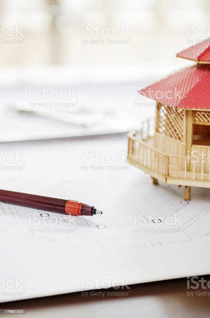 Drawing pen and modular home royalty-free stock photo