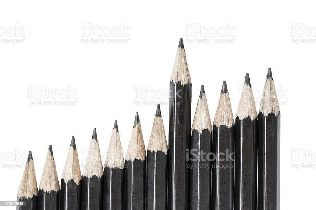 Drawing pencils in row royalty-free stock photo