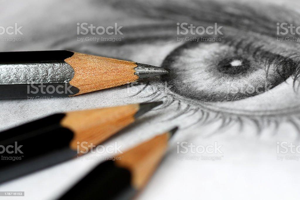 Drawing pencils stock photo