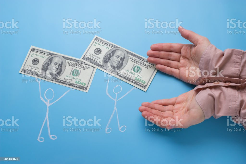 drawing people carry money royalty-free stock photo