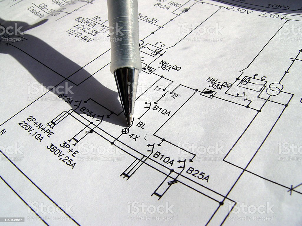 Drawing plans with black pencil stock photo