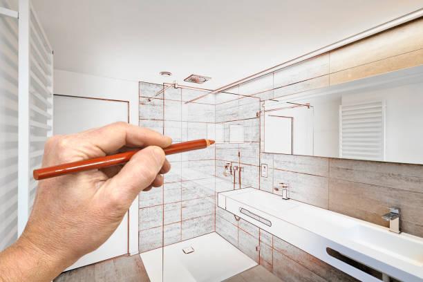 renovação de desenho de uma casa de banho de luxo - banheiro doméstico - fotografias e filmes do acervo