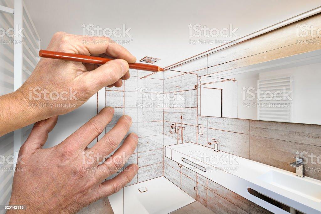 Drawing renovation of a luxury bathroom stock photo