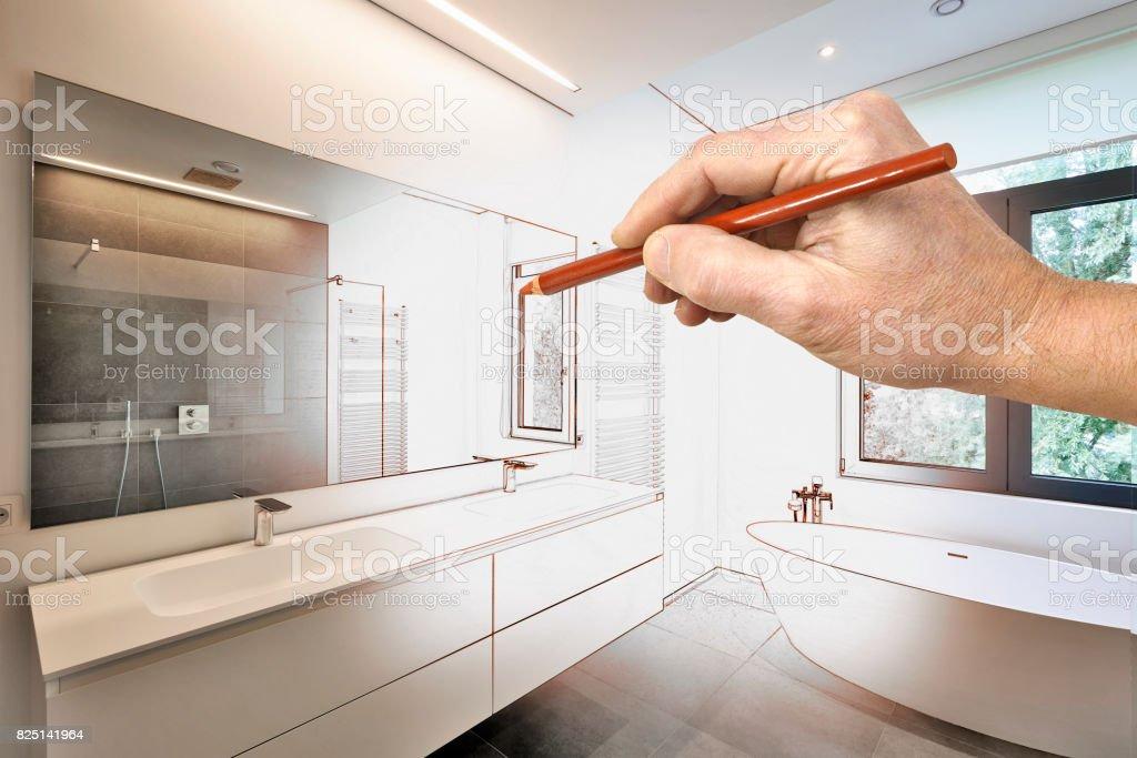 Zeichnung Eine Moderne Luxusbadezimmer Renovierung Stockfoto ...