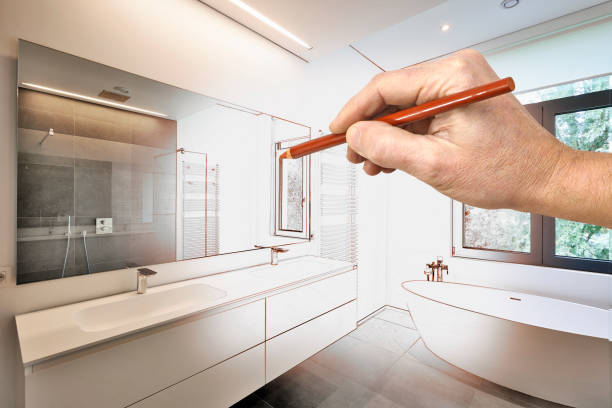 drawing renovation of a luxury modern bathroom - bathroom renovation stock photos and pictures