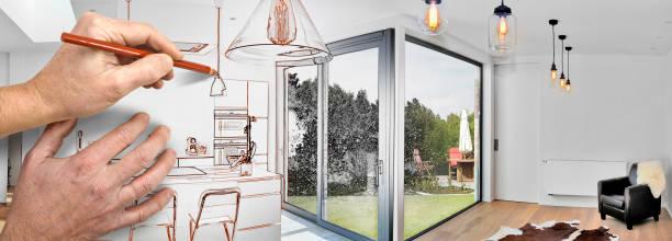 renovierung einer offenen modernen küche zeichnen - küche neu gestalten ideen stock-fotos und bilder
