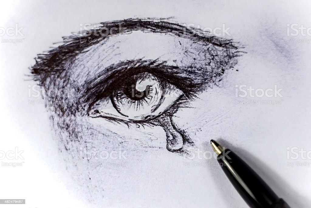 drawing sad stock photo