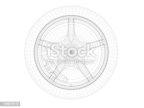 istock Drawing scheme of car wheel with rim, tire and disk brake 155678137