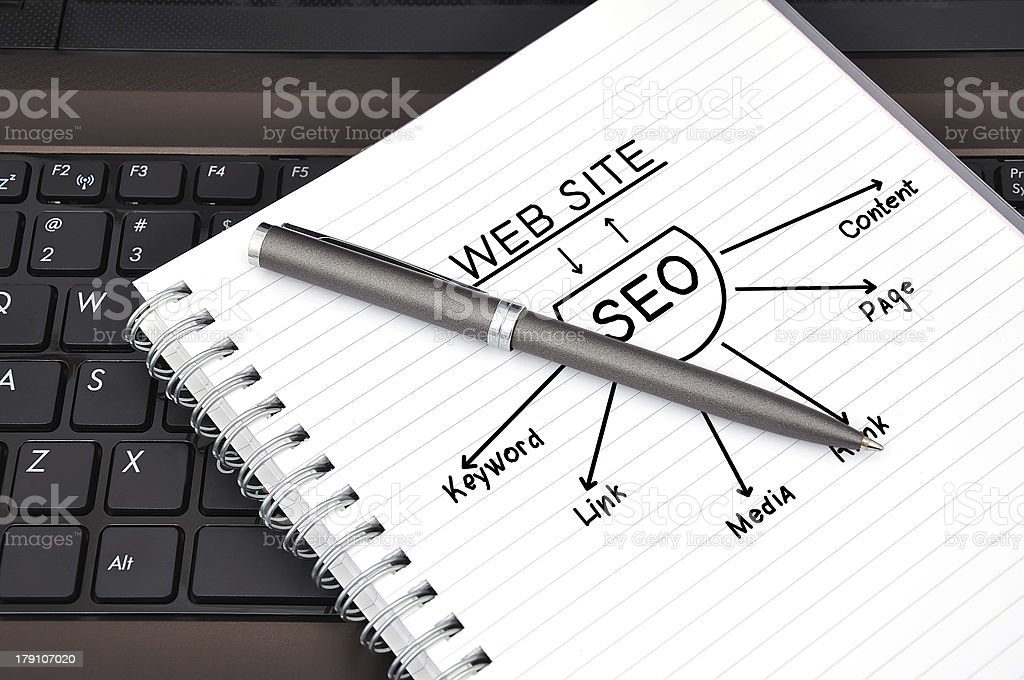 drawing seo scheme royalty-free stock photo