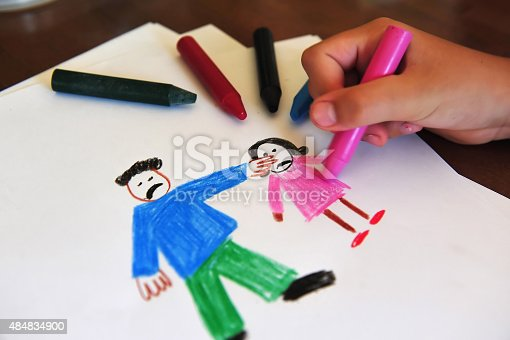 istock Drawing shows young girls inner feelings about being abused 484834900
