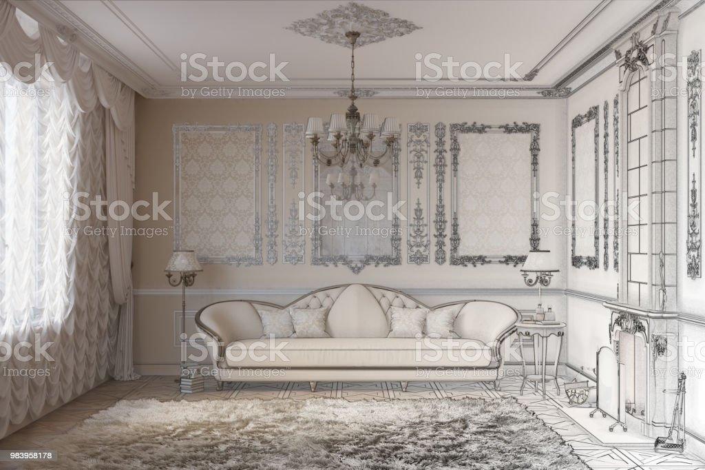 Zeichnung Skizze Zu Einem Klassiker Wohnzimmer Mit Kamin Stockfoto Und Mehr Bilder Von Alt Istock