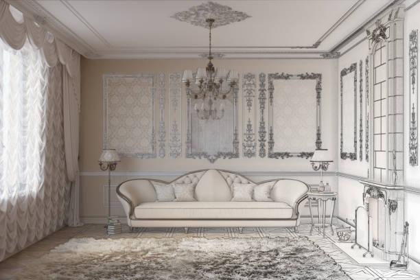 zeichnung skizze zu einem klassiker wohnzimmer mit kamin - alten kronleuchter stock-fotos und bilder