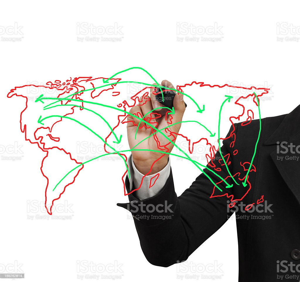 drawing social network structure in a whiteboard royalty-free stock photo