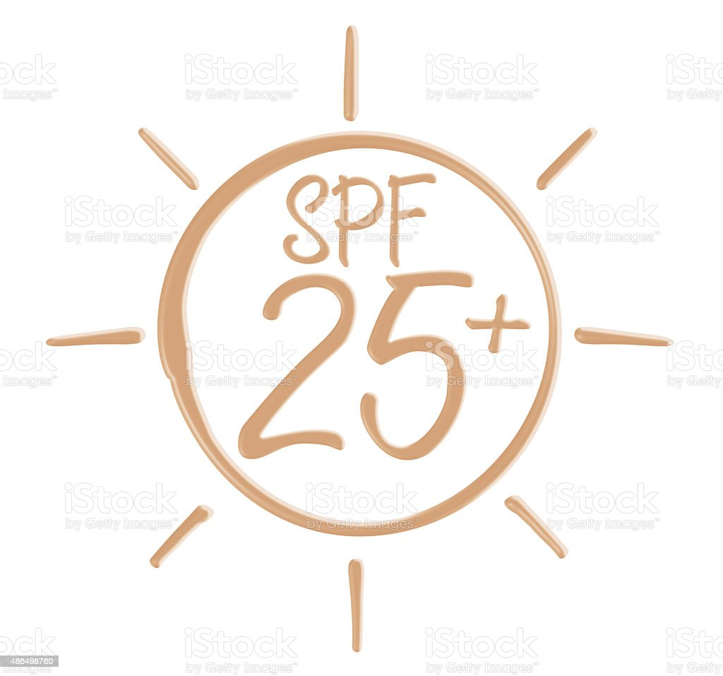 Drawing SPF 25+ icon from sunscreen lotion stock photo