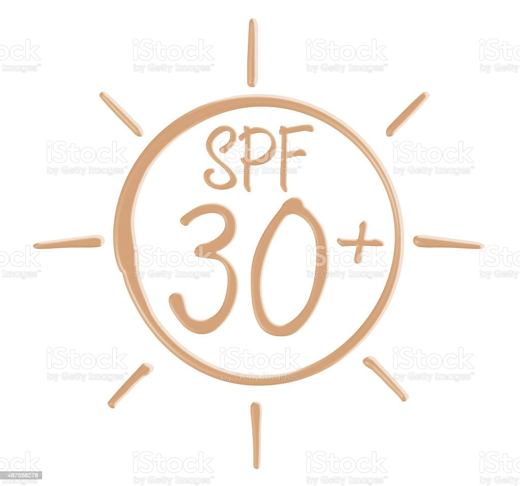 Drawing SPF 30+ icon from sunscreen lotion stock photo