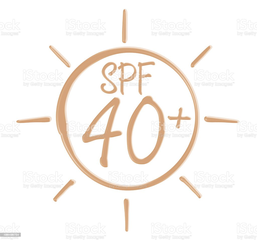 Drawing SPF 40+ icon from sunscreen lotion stock photo