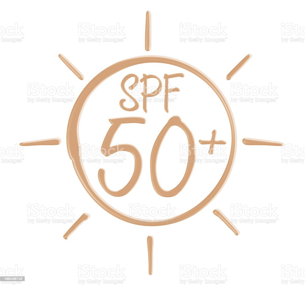 Drawing SPF 50+ icon from sunscreen lotion stock photo