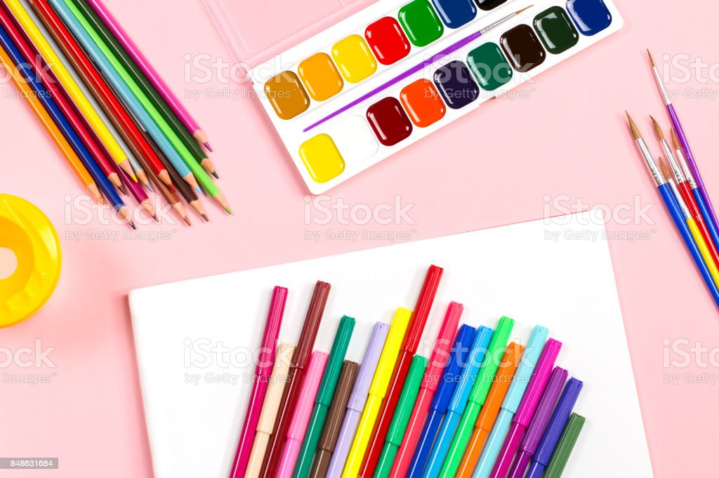 drawing supplies flat lay, copy space stock photo