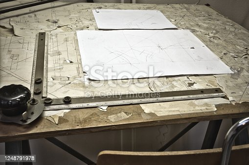 476601452 istock photo drawing table with blueprints, architect table, vintage, sketches close up 1248791978