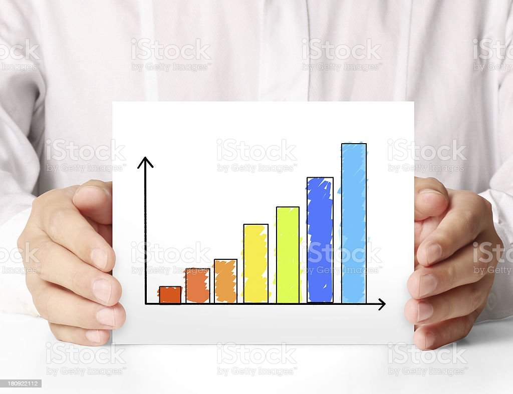 drawing the graph in a4 royalty-free stock photo