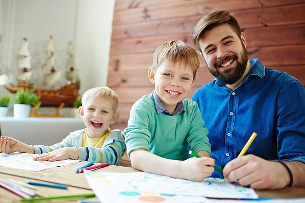 drawing together - colouring book stock photos and pictures