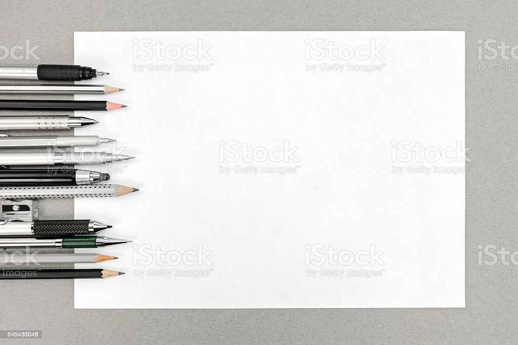 office drawing tools. Drawing Tools And Blank Sheet Of Paper On Office Desk Royalty-free Stock Photo 1