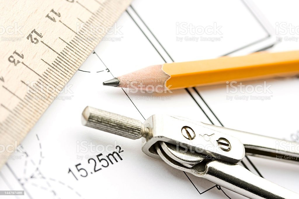 Drawing tools and sketch royalty-free stock photo