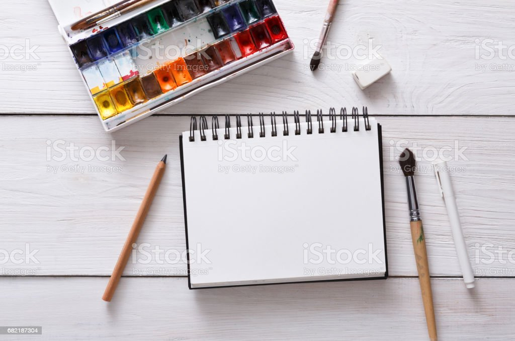 Drawing tools, stationary, workplace of artist stock photo