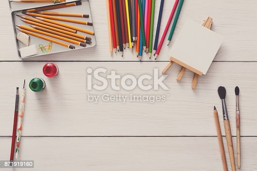 istock Drawing tools, stationary, workplace of artist 871919160