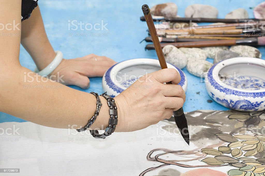 Drawing traditional Chinese painting stock photo