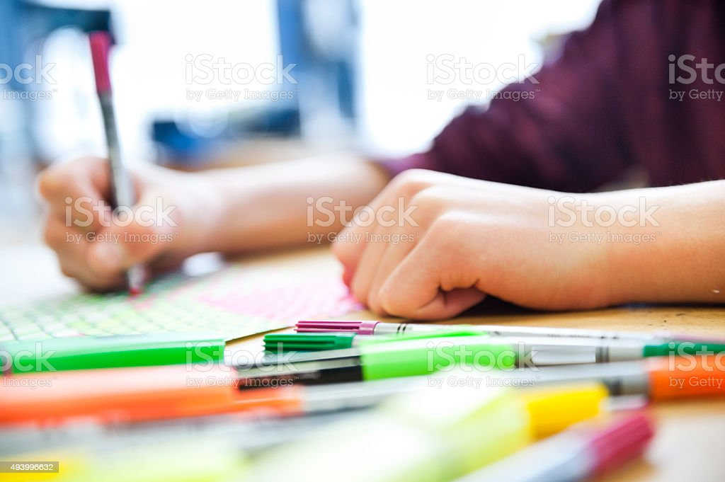 Drawing with colorful pencils stock photo