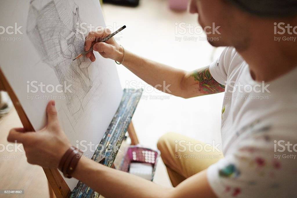 Drawing with pencil stock photo