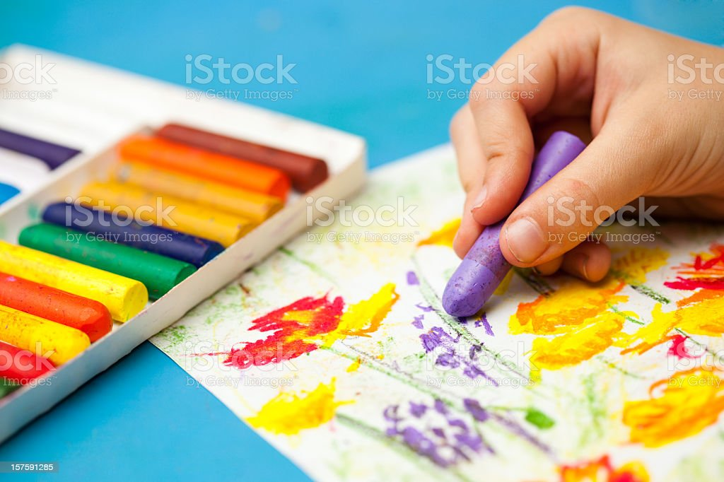 Drawing with wax crayons