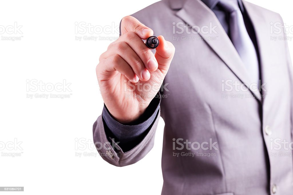 Drawing, Writing Hand Concept by Businessman stock photo