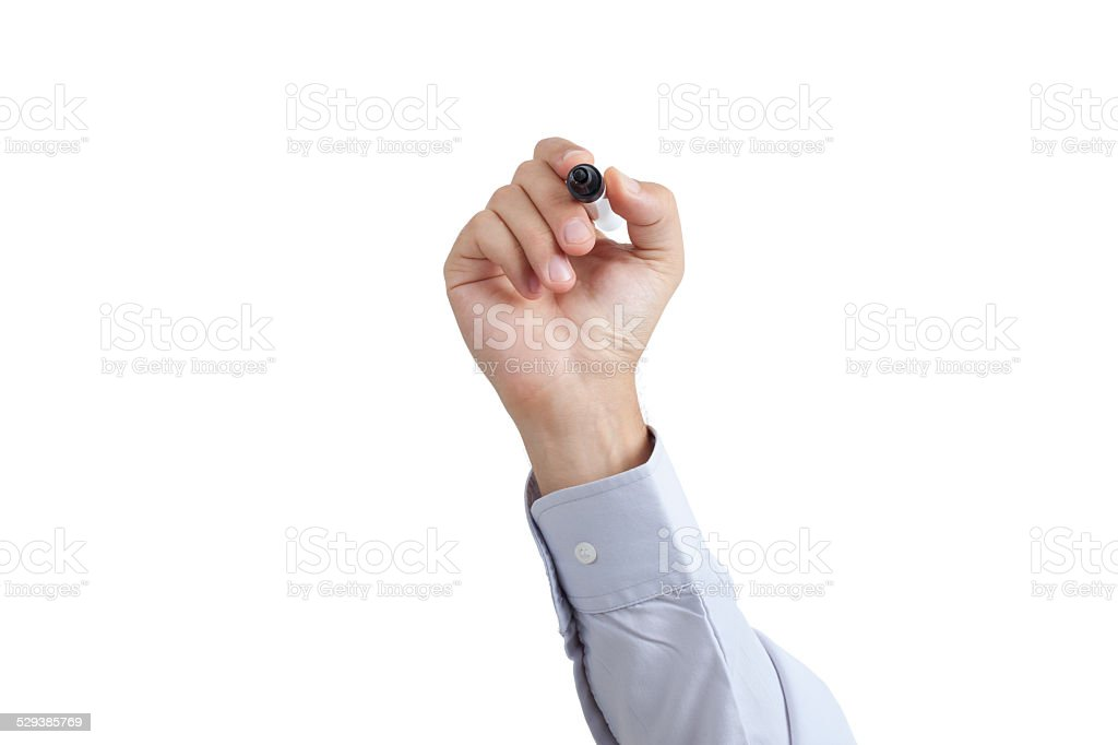 Drawing, Writing Hand Concept by Man view bottom side stock photo
