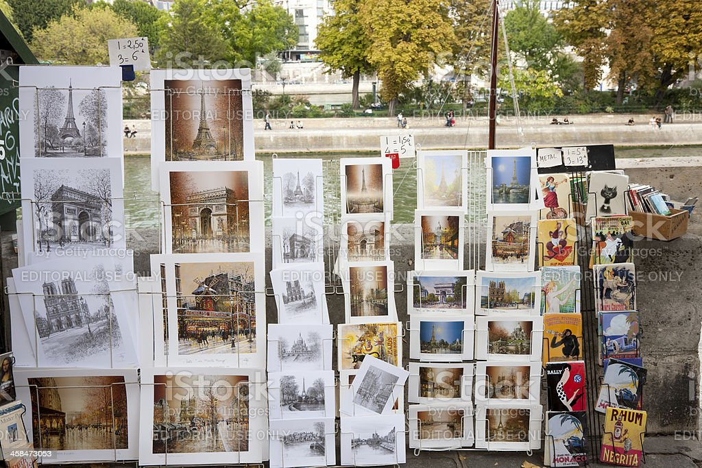 Drawings and Paintings for Sale Near Seine River, Paris, France royalty-free stock photo