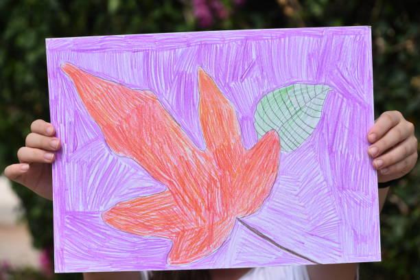 zeichnungen eines mädchens - ausmalbilder vögel stock-fotos und bilder