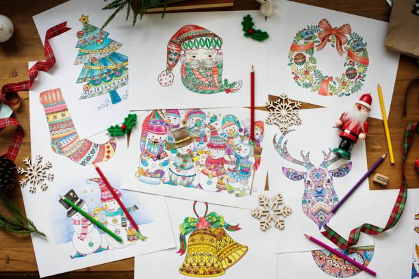 zeichnungen von verschiedenen weihnachten symbole und zeichen - ausmalbilder weihnachtsmann stock-fotos und bilder