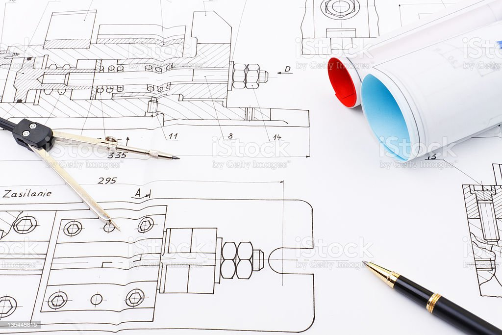Drawings of industry detail royalty-free stock photo