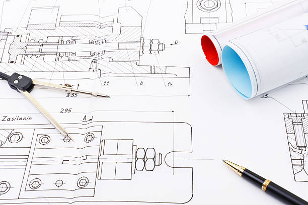 Drawings of industry detail stock photo