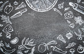 Illustrations of pizza ingredients on black chalkboard