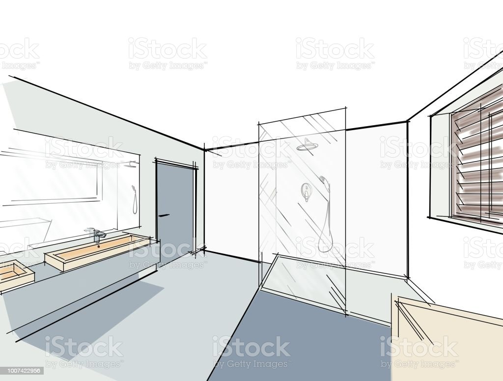 Drawings Sketches 3d Interior Of A Modern Bathroom Stock ...