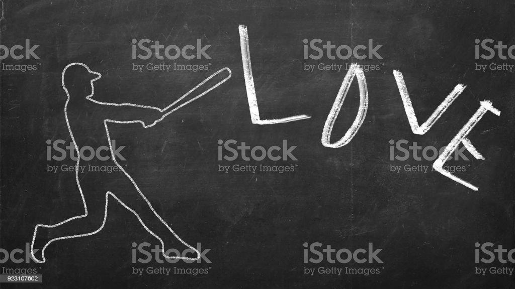 Drawn figure of Baseball player hitting a word Love stock photo
