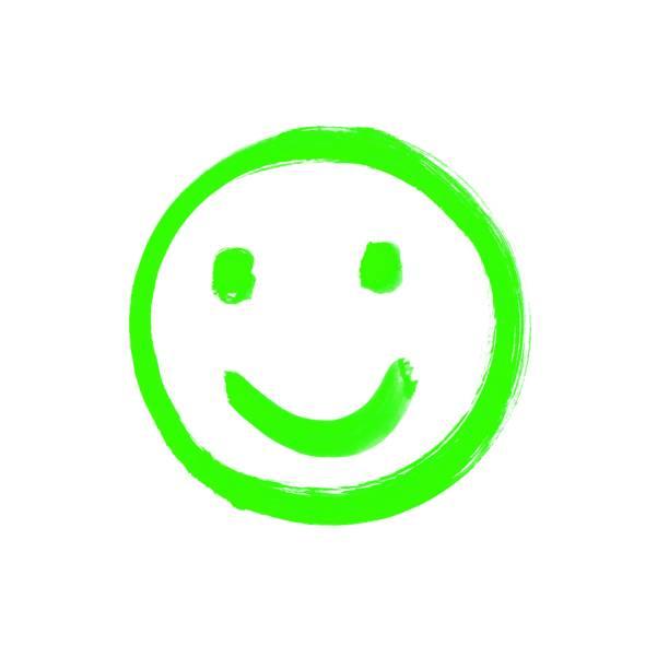 glückliches gesicht grün gezeichnet - foto tusche stock-fotos und bilder